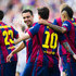 Lionel Messi Xavi Hernandez Photos - Lionel Messi (C) of FC Barcelona is congratulated by his teammates Xavi Hernandez (L) and Neymar Santos Jr (R) after scoring the opening goal during the La Liga match between FC Barcelona and RC Deportivo La Coruna at Camp Nou on May 23, 2015 in Barcelona, Spain. - FC Barcelona v RC Deportivo La Coruna - La Liga