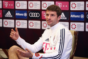Thomas Mueller attends a press conference on day 3 of the FC Bayern Muenchen training camp at Moevenpick Al Aziziyah Hotel on January 4, 2018 in Doha, Qatar.