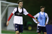 Thomas Mueller reacts during a training session on day 2 of the FC Bayern Muenchen training camp at ASPIRE Academy for Sports Excellence on January 3, 2018 in Doha, Qatar.