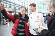 Thomas Mueller of Bayern Muenchen arrives at the airport for the departure to the team's training camp in Doha, Qatar, on January 2, 2018 in Munich, Germany.