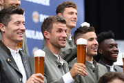 Thomas Mueller of FC Bayern Muenchen during the FC Bayern Muenchen and Paulaner photo session at FGV Schmidtle Studios on September 01, 2019 in Munich, Germany.