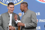 Niklas Suele of FC Bayern Muenchen and Jerome Boateng (R) during the FC Bayern Muenchen and Paulaner Photo Session at FGV Schmidtle Studios on September 2, 2018 in Munich, Germany. .The traditional photo shoot featuring FC Bayern Muenchen for the Paulaner brewery who have been a platinum partner with Bayern Muenchen since 2003. Giving some of the stars from Germany?s record-breaking football team and their trainer Niko Kovac the opportunity to get in touch with some Bavarian culture by dressing for the shoot in Lederhosen the traditional attire of Bavaria.