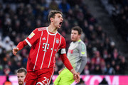 Thomas Muller #25 of Bayern Munich reacts during the Bundesliga match between FC Bayern Muenchen and 1. FC Koeln at Allianz Arena on December 13, 2017 in Munich, Germany.