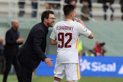 Stephan El Shaarawy of Roma celebrates after scoring his team's opening with Eusebio Di Francesco goal during the serie A match between FC Crotone and AS Roma at Stadio Comunale Ezio Scida on March 18, 2018 in Crotone, Italy.