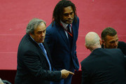 UEFA President Michel Platini and Christian Karembeu look on during the UEFA Europa League Final match between FC Dnipro Dnipropetrovsk and FC Sevilla on May 27, 2015 in Warsaw, Poland.