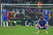 Raul Rusescu of FC Steaua scores a penalty past Petr Cech of Chelsea as Fernando Torres of Chelsea looks away during the UEFA Europa League Round of 16 match between FC Steaua Bucuresti and Chelsea at the National Arena on March 7, 2013 in Bucharest, Romania.