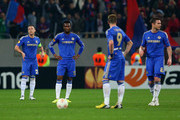 (Liverpool-R) John Terry of Chelsea, Mikel John Obi of Chelsea, Fernando Torres of Chelsea and Frank Lampard of Chelsea look on after conceeding a goal during the UEFA Europa League Round of 16 match between FC Steaua Bucuresti and Chelsea at the National Arena on March 7, 2013 in Bucharest, Romania.
