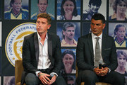Harry Kewell and John Aloisi speak on stage during the FFA Teams of the Decades announcements at Crown Towers on December 17, 2013 in Melbourne, Australia. Football Federation Australia (FFA) celebrated the heroes of yesterday by naming its Teams of the Decades in conjunction with the 50th Anniversary of FIFA Membership at a Hall of Fame function.