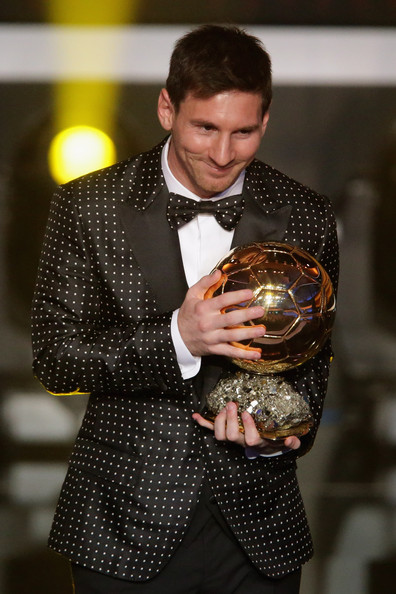 Lionel Messi of Argentina receives the FIFA Ballon d'Or 2012 trophy on January 7, 2013 in Zurich, Switzerland.