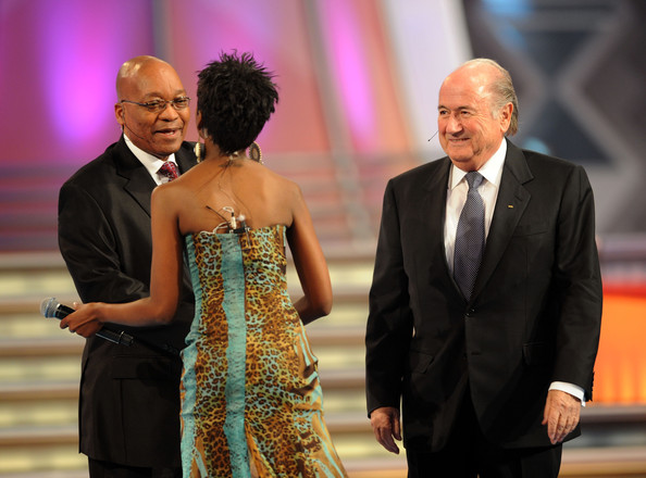 South African President Jacob Zuma (L) and FIFA President Sepp Blatter attend the Final Draw for the FIFA World Cup 2010 December 4, 2009 at the International Convention Centre in Cape Town, South Africa.