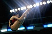 Han Wang of China dives in the Women's 3m Springboard finals during day two of the FINA/NVA Diving World Series 2014 at the Hamdan Sports Complex on March 21, 2014 in Dubai, United Arab Emirates.