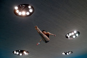 Han Wang of China dives during a training session prior to competition on day two of the FINA/NVC Diving World Series at the London Aquatics Centre on April 26, 2014 in London, England.