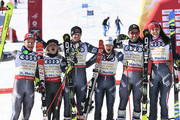 Mathieu Faivre of France, Adeline Baud Mugnier of France, Alexis Pinturault of France, Nastasia Noens of France, Tessa Worley of France win the gold medal during the FIS Alpine Ski World Championships Nation Team Event on February 14, 2017 in St. Moritz, Switzerland