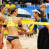 Katrin Holtwick Photos - Katrin Holtwick and Ilka Semmler from Germany greet Maria Elisa Antonelli and Talita Antunes da Rocha from Brasil during a match as part of day two of FIVB World Cup Final at Parque do Taquaral on May 30, 2013 in Campinas, Brazil. - FIVB World Cup Final: Day 2