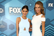 (L-R)  Miss Universe Pia Wurtzbach and Miss USA Olivia Jordan attend FOX 2016 Upfront Arrivals at Wollman Rink, Central Park on May 16, 2016 in New York City.