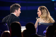 "Singer Harry Connick, Jr. (L) and actress/singer Jennifer Lopez are seen onstage during FOX's ""American Idol"" Finale For The Farewell Season at Dolby Theatre on April 7, 2016 in Hollywood, California. at Dolby Theatre on April 7, 2016 in Hollywood, California."