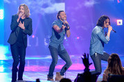 """(L-R) Recording artists Bucky Covington, Ace Young and Constantine Maroulis perform onstage during FOX's """"American Idol"""" Finale For The Farewell Season at Dolby Theatre on April 7, 2016 in Hollywood, California. at Dolby Theatre on April 7, 2016 in Hollywood, California."""