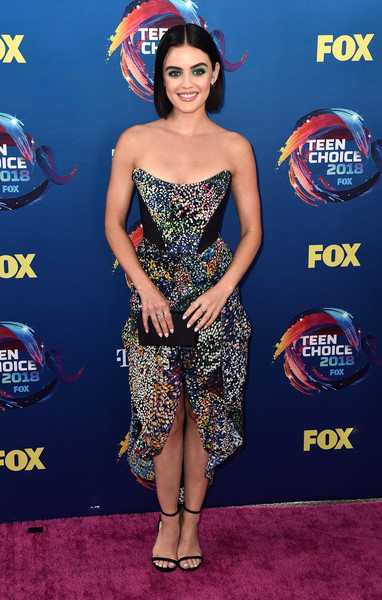Lucy Hale looked vibrant in a strapless, color-speckled dress by Mary Katrantzou at the 2018 Teen Choice Awards.