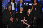 (L-R, back row) Rembert Browne, Jorge Ramos, Akilah Hughes, (front row) Wayne Ford, Mary Campos and Alicia Menendez pictured onstage during the FUSION presents the Brown & Black Democratic Forum at Drake University on January 11, 2016 in Des Moines, Iowa.