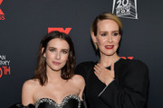 """(L-R) Emma Roberts and Sarah Paulson attend FX's """"American Horror Story"""" 100th Episode Celebration at Hollywood Forever on October 26, 2019 in Hollywood, California."""