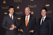 "Actors Harris Dickenson, Donald Sutherland and Michael Esper attend the FX Networks' ""Trust"" New York Screening at Florence Gould Hall on March 14, 2018 in New York City."
