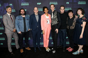 "(L-R) Taika Waititi, Matt Berry, Mark Proksch, Stefani Robinson, Doug Jones, Paul Simms, Harvey Guillen, and Kristen Schaal attend the FYC event of FX's ""What We Do In The Shadows"" at Avalon Hollywood on May 22, 2019 in Los Angeles, California."