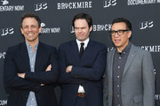 (L-R) Actors Seth Meyers, Bill Hader and Fred Armisen arrive at the FYC event for IFC's 'Brockmire' and Documentary Now!' at Saban Media Center on May 31, 2017 in North Hollywood, California.