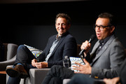 """Actors Seth Meyers (L) and Fred Armisen speak onstage during the FYC event for IFC's """"Brockmire"""" and """"Documentary Now!"""" at Saban Media Center on May 31, 2017 in North Hollywood, California."""