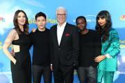 "(L-R) D'Arcy Carden, Manny Jacinto, Ted Danson, William Jackson Harper, and Jameela Jamil attend the FYC event for NBC's ""The Good Place"" at Saban Media Center on June 07, 2019 in North Hollywood, California."