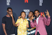 (L-R) Actors Ethan Herisse, Asante Blackk, Caleel Harris and Jharrel Jerome attend FYC Event For Netflix's 'When They See Us' at Paramount Theater on the Paramount Studios lot on August 11, 2019 in Hollywood, California.