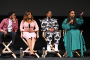 (L-R) Actors Jharell Jerome, Niecy Nash, Aunjanue Ellis and filmmaker Ava DuVarney seen onstage during FYC Event For Netflix's 'When They See Us' panel at Paramount Theater on the Paramount Studios lot on August 11, 2019 in Hollywood, California.