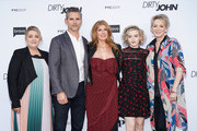 "(L-R) Alexandra Cunningham, Eric Bana, Connie Britton, Julia Garner and Jean Smart attend the FYC red carpet of Bravo's ""Dirty John"" at Saban Media Center on May 02, 2019 in North Hollywood, California."