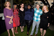 """(L-R) Actors Jessica Lange, Angela Bassett, Sarah Paulson, Gabourey Sidebe, Denis O'Hare and Frances Conroy pose at a screening and conversation with Fox's """"American Horror Story: Coven"""" at Twientieth Century Fox Studios on June 6, 2014 in Los Angeles, California."""