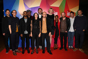 "Director Peter Strickland  (C) with cast and crew at the UK Premiere of ""In Fabric"" at the 62nd BFI London Film Festival on October 18, 2018 in London, England."