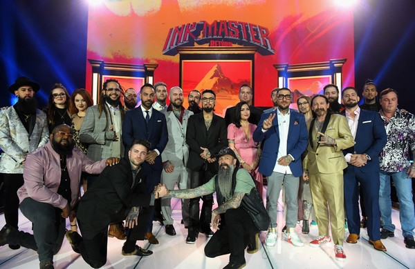 """Ink Master"" Season 10 Finale [ink master,season,finale,social group,event,youth,fashion,team,performance,leisure,company,stage,tourism,chris nunez,kate rhoden,deranna smith,top l-r,l-r,roly trex,ink master season 10 finale]"