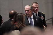 (AFP-OUT) Former President George W. Bush arrives for a funeral service for former President George H.W. Bush at St. Martins Episcopal Church on December 6, 2018 in Houston, Texas. President Bush will be buried at his final resting place at the George H.W. Bush Presidential Library at Texas A&M University in College Station, Texas. A WWII combat veteran, Bush served as a member of Congress from Texas, ambassador to the United Nations, director of the CIA, vice president and 41st president of the United States.
