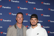 Matt Ryan (L) and Mitch Trubisky arrive at the Fanatics Super Bowl Party at College Football Hall of Fame on January 5, 2019 in Atlanta, Georgia.