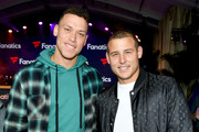 Aaron Judge and Anthony Rizzo attend Michael Rubin's Fanatics Super Bowl Party at Loews Miami Beach Hotel on February 01, 2020 in Miami Beach, Florida.
