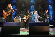 Willie Nelson, Lukas Nelson, Billy Joe Shaver and and Mickey Raphael attends Farm Aid 2009 at the Verizon Wireless Amphitheater on October 4, 2009 in St Louis, Missouri.