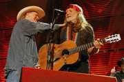 Billy Joe Shaver and Willie Nelson perform during Farm Aid 2009 at the Verizon Wireless Amphitheater on October 4, 2009 in St Louis, Missouri.