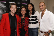 (L-R) Lance Bass, Fern Mallis and Designers Babi and Sachin Ahulawalia attend Fashion's Night Out at Saks Fifth Avenue on September 6, 2012 in New York City.