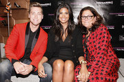(L-R) Lance Bass, Rachel Roy and Fern Mallis attend Fashion's Night Out at Saks Fifth Avenue on September 6, 2012 in New York City.