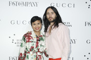 Fast Company Editor in Chief Stephanie Mehta and Jared Leto attend Fast Company European Innovation Festival Powered By Gucci on July 10, 2019 in Milan, Italy.