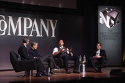 """(L-R) Robert Safian, Ari Emanuel, Dwayne """"The Rock"""" Johnson and Patrick Whitesell speak onstage during 'The Next Intersection For Hollywood with William Morris Endeavor's Ari Emanuel, Patrick Whitesell and Dwayne """"The Rock"""" Johnson' at the Fast Company Innovation Festival on November 9, 2015 in New York City."""