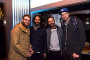 """(L-R) Actors Seth Rogan, Jason Manzoukas, Nick Kroll and Timothy Simons attend Fast Company's pre-reception for a screening of """"The Disaster Artist"""" at the FC Grill on March 12, 2017 in Austin, Texas."""