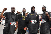 Feed Your City Challenge Co-Founder Tony Draper, Pierre Pee Thomas, 2 Chainz, and Feed Your City Challenge Co-Founder Ricky Davis attend the Feed Your City Challenge on September 19, 2020 in Atlanta, Georgia. Feed Your City Challenge provided Atlanta's local community members with boxes of fresh groceries, PPE items, and voter registration stations.
