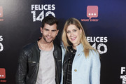 "Actress Clara Alonso and actor Diego Dominguez attend ""Felices 140"" premiere at the Capitol cinema on April 9, 2015 in Madrid, Spain."