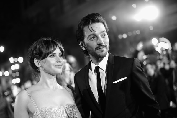 The World Premiere of 'Rogue One: A Star Wars Story' [rogue one: a star wars story,image,photograph,black-and-white,monochrome,monochrome photography,marriage,ceremony,dress,suit,event,wedding,felicity jones,diego luna,color version,pantages theatre,l,lucasfilm,world premiere,the world premiere]