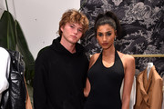 Jordan Barrett (L) and Imaan Hammam attend the FENTY x Webster Pop-up Cocktail at The Webster on June 18, 2019 in New York City.