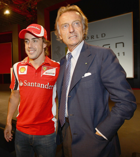 Fernando Alonso Fernando Alonso (L) and Chairman of Ferrari SpA Luca Cordero Di Montezemolo (R) attend the Ferrari World Design Contest on July 19, 2011 in Maranello, Italy. The Ferrari World Design Contest has been launched by Ferrari in collaboration with Autodesk for 50 prestigious international design schools. The winners will win an internship at Ferrari.